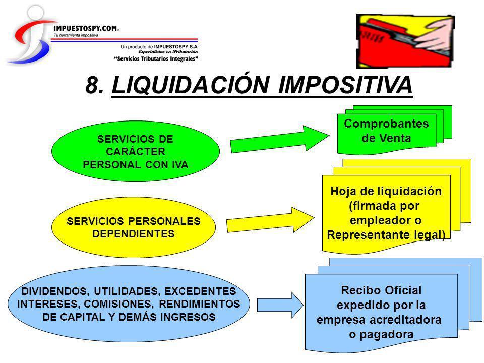8. LIQUIDACIÓN IMPOSITIVA SERVICIOS PERSONALES DEPENDIENTES SERVICIOS DE CARÁCTER PERSONAL CON IVA DIVIDENDOS, UTILIDADES, EXCEDENTES INTERESES, COMIS