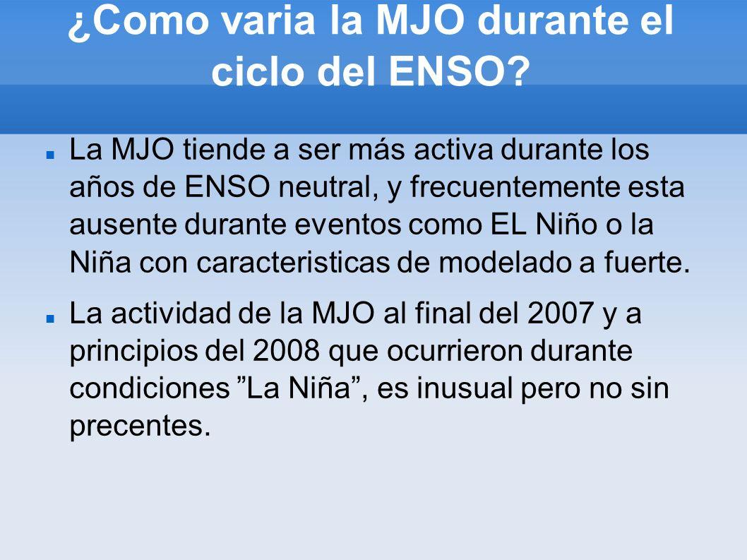 ¿Como varia la MJO durante el ciclo del ENSO? La MJO tiende a ser más activa durante los años de ENSO neutral, y frecuentemente esta ausente durante e