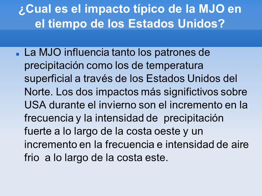 ¿Cual es el impacto típico de la MJO en el tiempo de los Estados Unidos? La MJO influencia tanto los patrones de precipitación como los de temperatura