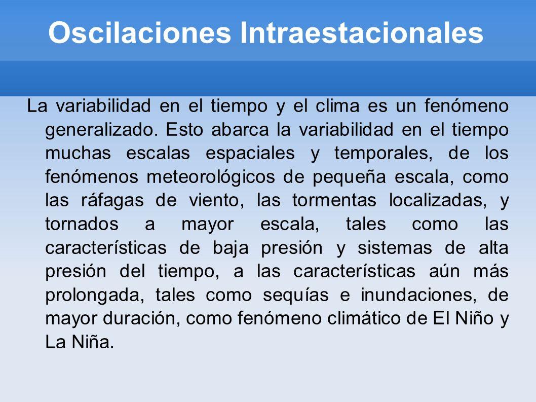 Oscilaciones Intraestacionales La variabilidad en el tiempo y el clima es un fenómeno generalizado. Esto abarca la variabilidad en el tiempo muchas es