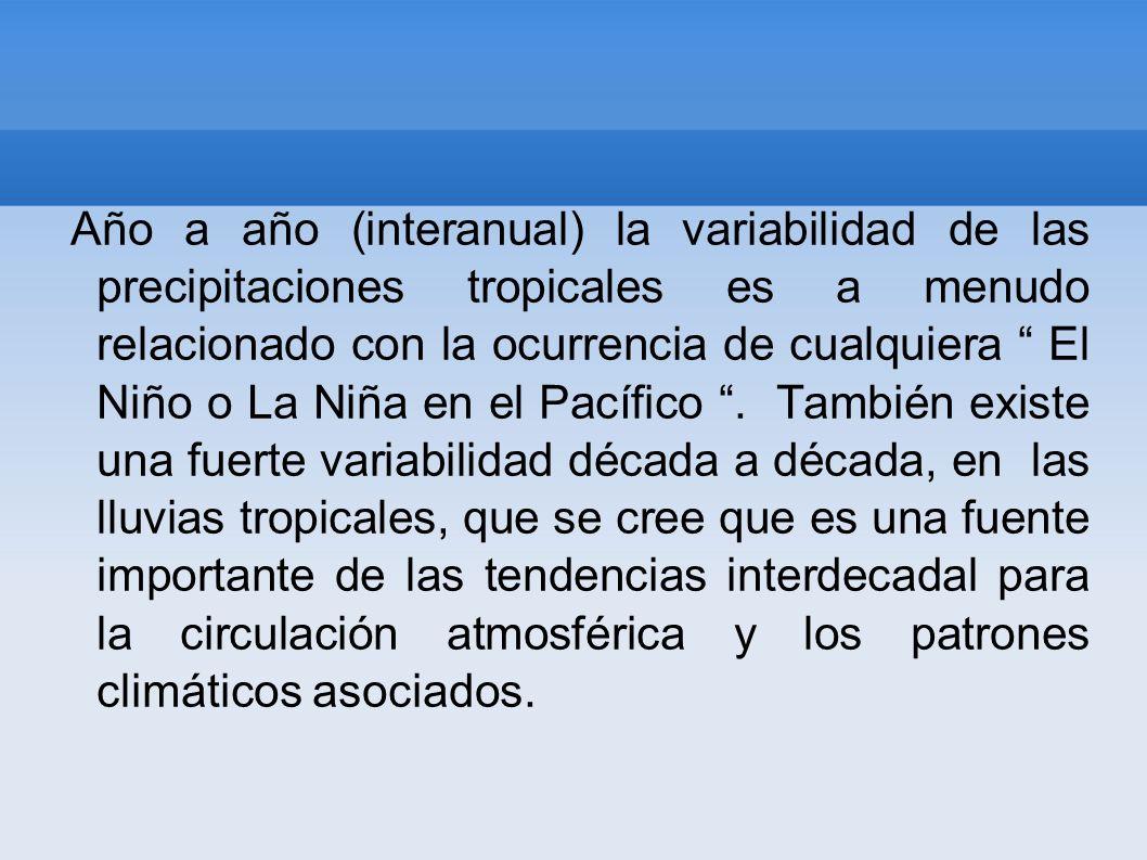 Año a año (interanual) la variabilidad de las precipitaciones tropicales es a menudo relacionado con la ocurrencia de cualquiera El Niño o La Niña en