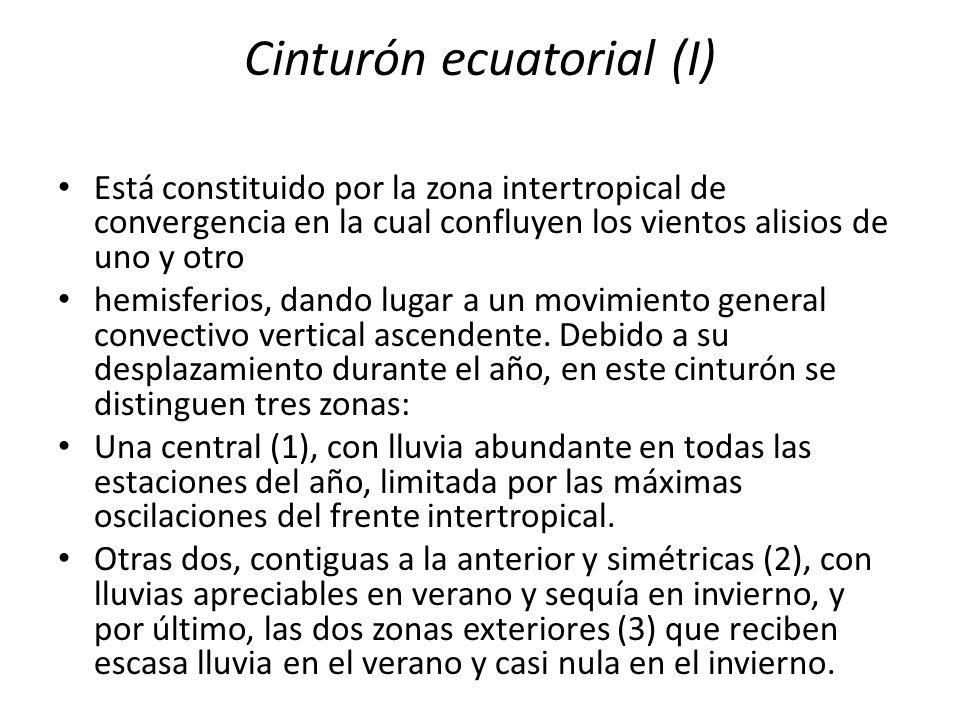 Cinturón ecuatorial (I) Está constituido por la zona intertropical de convergencia en la cual confluyen los vientos alisios de uno y otro hemisferios,