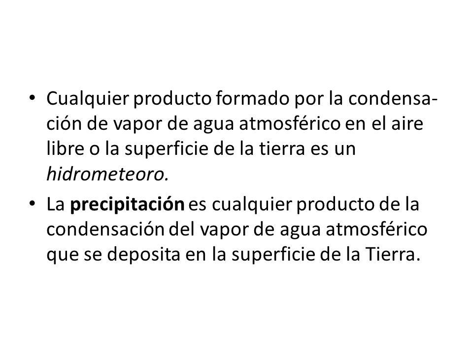 Cualquier producto formado por la condensa- ción de vapor de agua atmosférico en el aire libre o la superficie de la tierra es un hidrometeoro. La pre