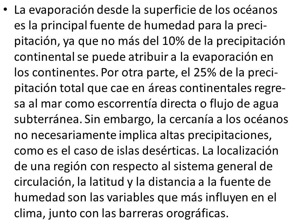 La evaporación desde la superficie de los océanos es la principal fuente de humedad para la preci- pitación, ya que no más del 10% de la precipitación