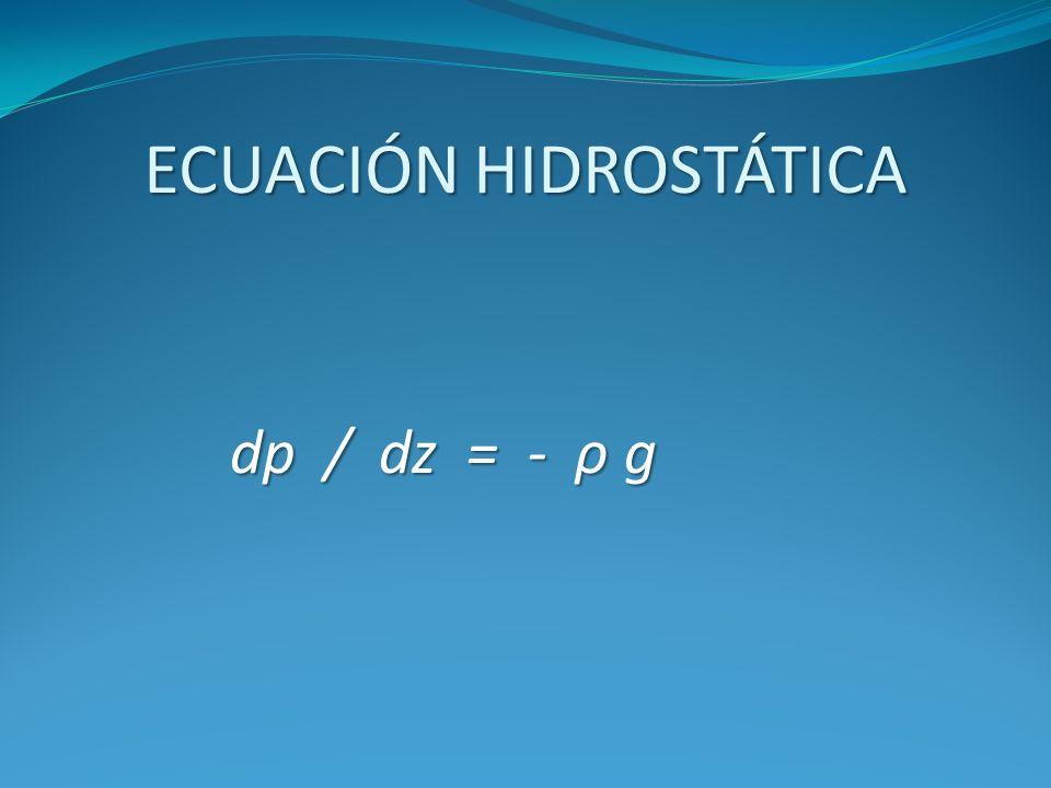 ECUACIÓN HIDROSTÁTICA dp / dz = - ρ g dp / dz = - ρ g