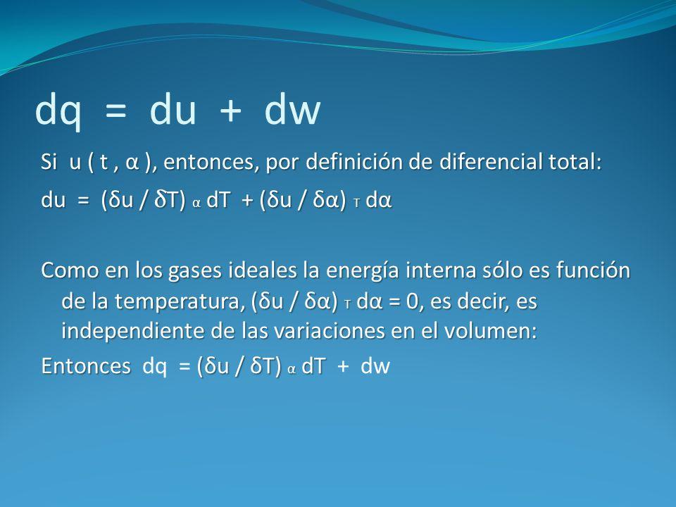 dq = du + dw Si u ( t, α ), entonces, por definición de diferencial total: du = (δu / δT) α dT + (δu / δα) T dα Como en los gases ideales la energía i