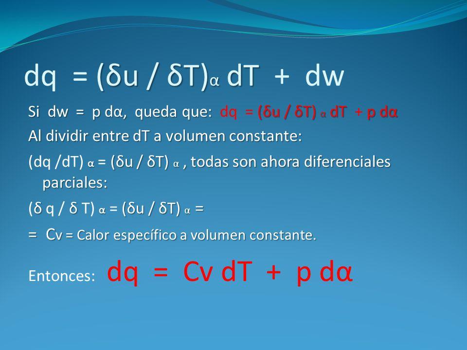 (δu / δT) α dT dq = (δu / δT) α dT + dw Si dw = p dα, queda que: (δu / δT) α dT p dα Si dw = p dα, queda que: dq = (δu / δT) α dT + p dα Al dividir en