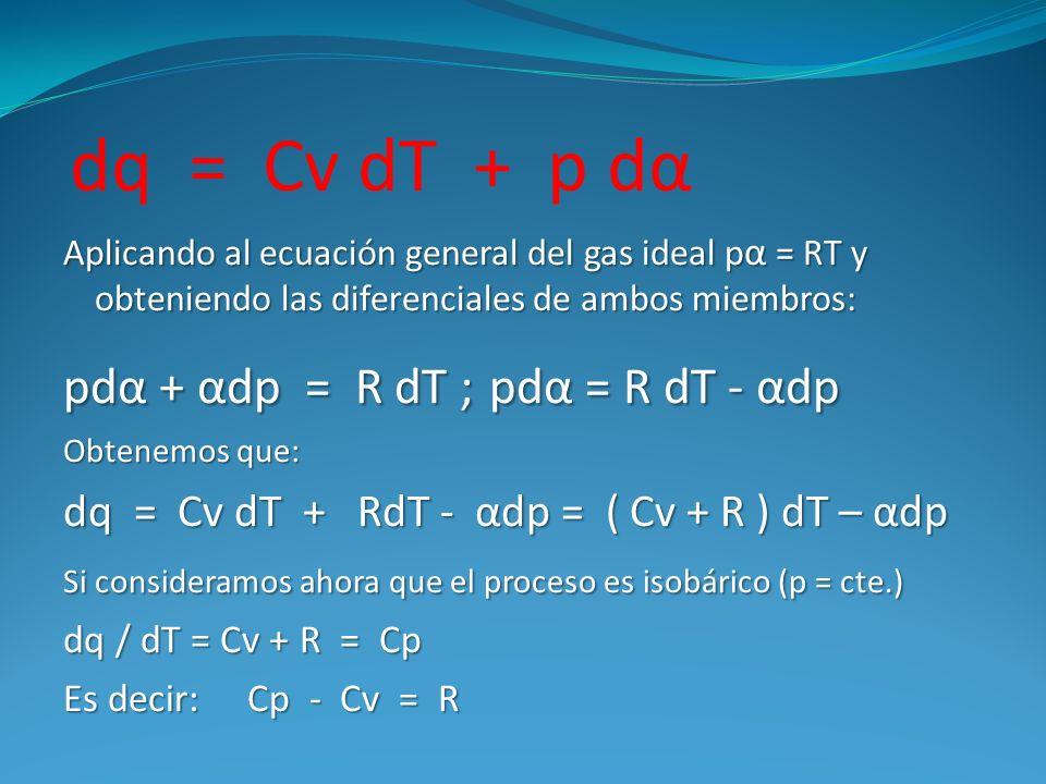 dq = Cv dT + p dα Aplicando al ecuación general del gas ideal p α = RT y obteniendo las diferenciales de ambos miembros: pdα + αdp = R dT ; pdα = R dT