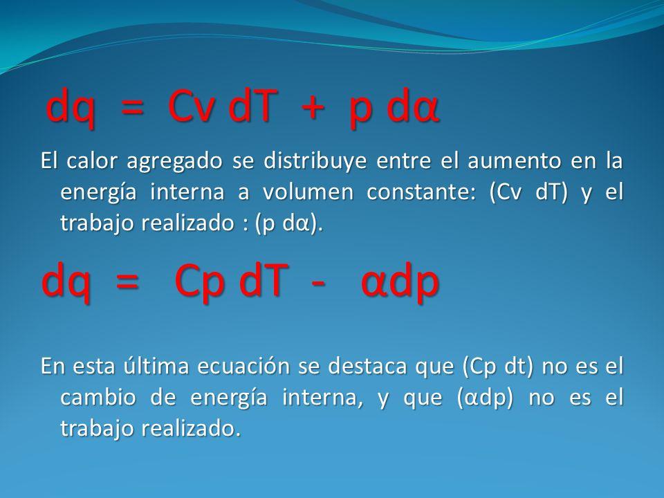 dq = Cv dT + p dα dq = Cv dT + p dα El calor agregado se distribuye entre el aumento en la energía interna a volumen constante: (Cv dT) y el trabajo r