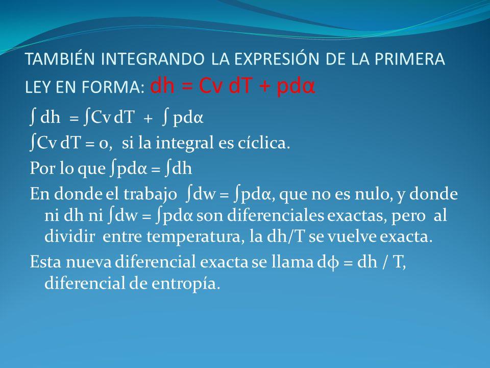 TAMBIÉN INTEGRANDO LA EXPRESIÓN DE LA PRIMERA LEY EN FORMA: dh = Cv dT + pdα dh = Cv dT + pdα Cv dT = 0, si la integral es cíclica. Por lo que pdα = d