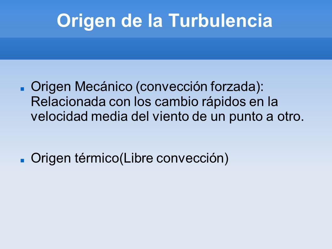 Origen de la Turbulencia Origen Mecánico (convección forzada): Relacionada con los cambio rápidos en la velocidad media del viento de un punto a otro.