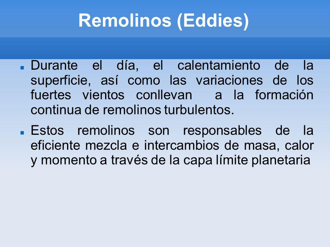 Remolinos (Eddies) Durante el día, el calentamiento de la superficie, así como las variaciones de los fuertes vientos conllevan a la formación continu