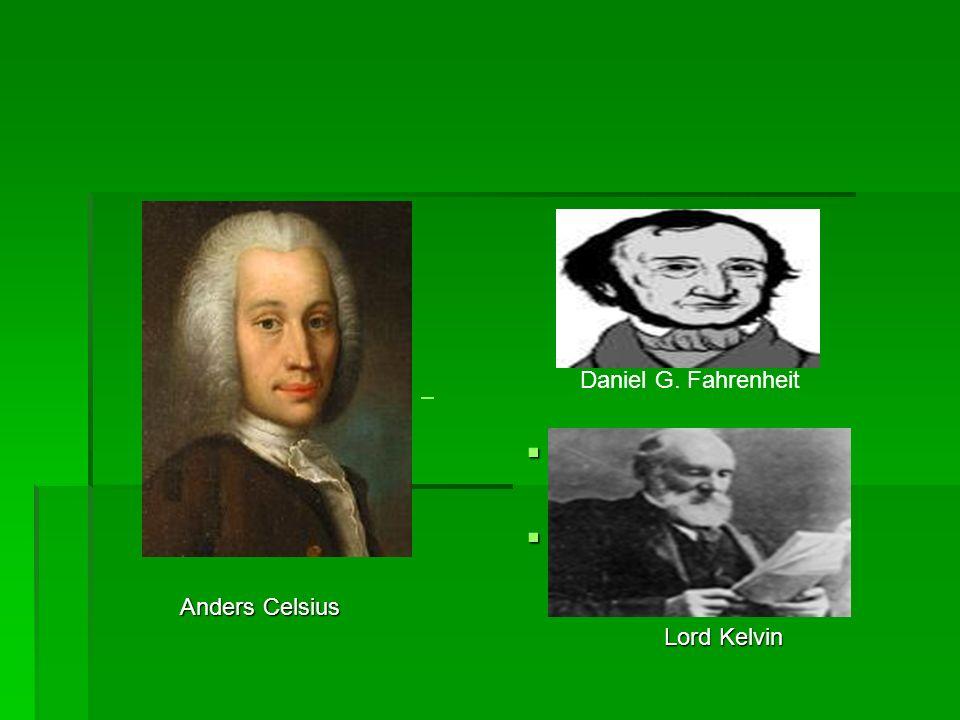 Daniel G. Fahrenheit Anders Celsius Lord Kelvin