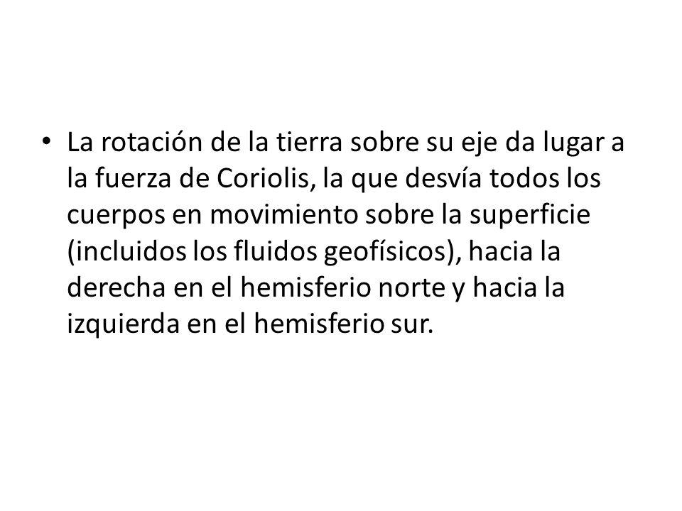 La rotación de la tierra sobre su eje da lugar a la fuerza de Coriolis, la que desvía todos los cuerpos en movimiento sobre la superficie (incluidos l