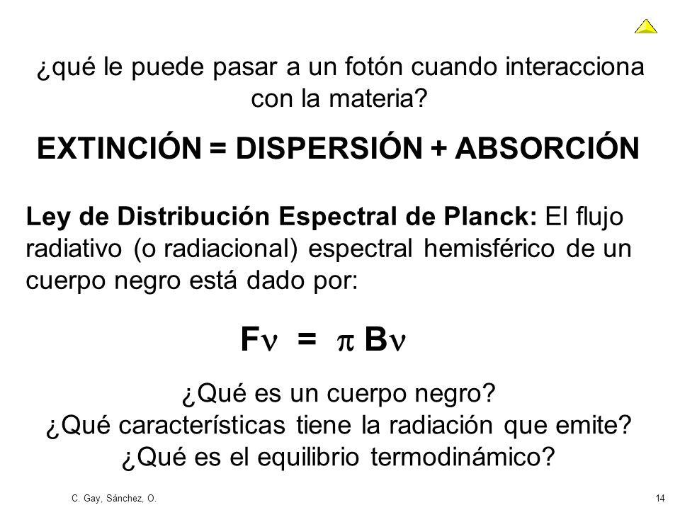 C. Gay, Sánchez, O.14 Ley de Distribución Espectral de Planck: El flujo radiativo (o radiacional) espectral hemisférico de un cuerpo negro está dado p
