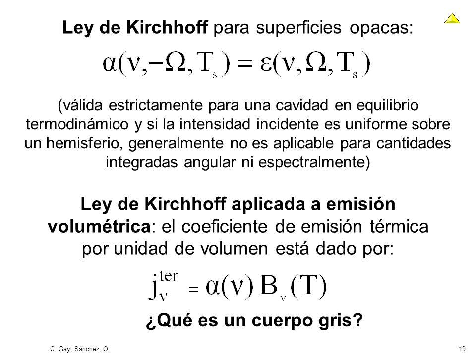 C. Gay, Sánchez, O.19 Ley de Kirchhoff aplicada a emisión volumétrica: el coeficiente de emisión térmica por unidad de volumen está dado por: ¿Qué es