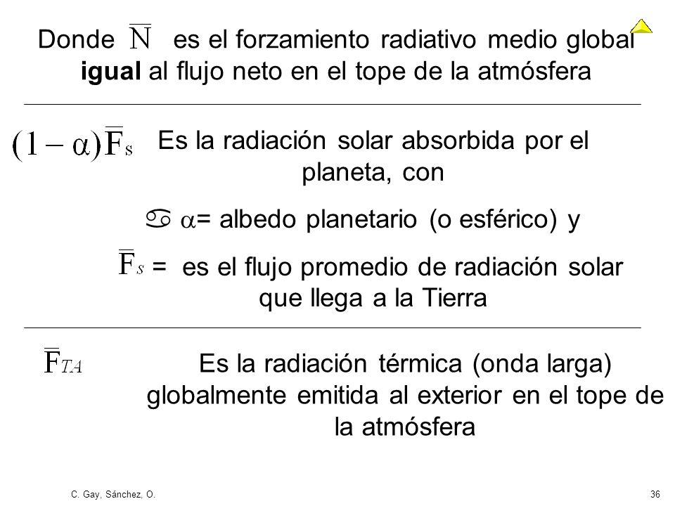C. Gay, Sánchez, O.36 Donde es el forzamiento radiativo medio global igual al flujo neto en el tope de la atmósfera Es la radiación solar absorbida po