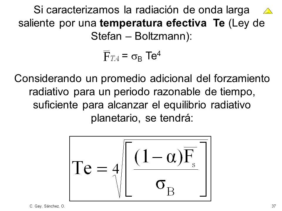 C. Gay, Sánchez, O.37 Si caracterizamos la radiación de onda larga saliente por una temperatura efectiva Te (Ley de Stefan – Boltzmann): = B Te 4 Cons