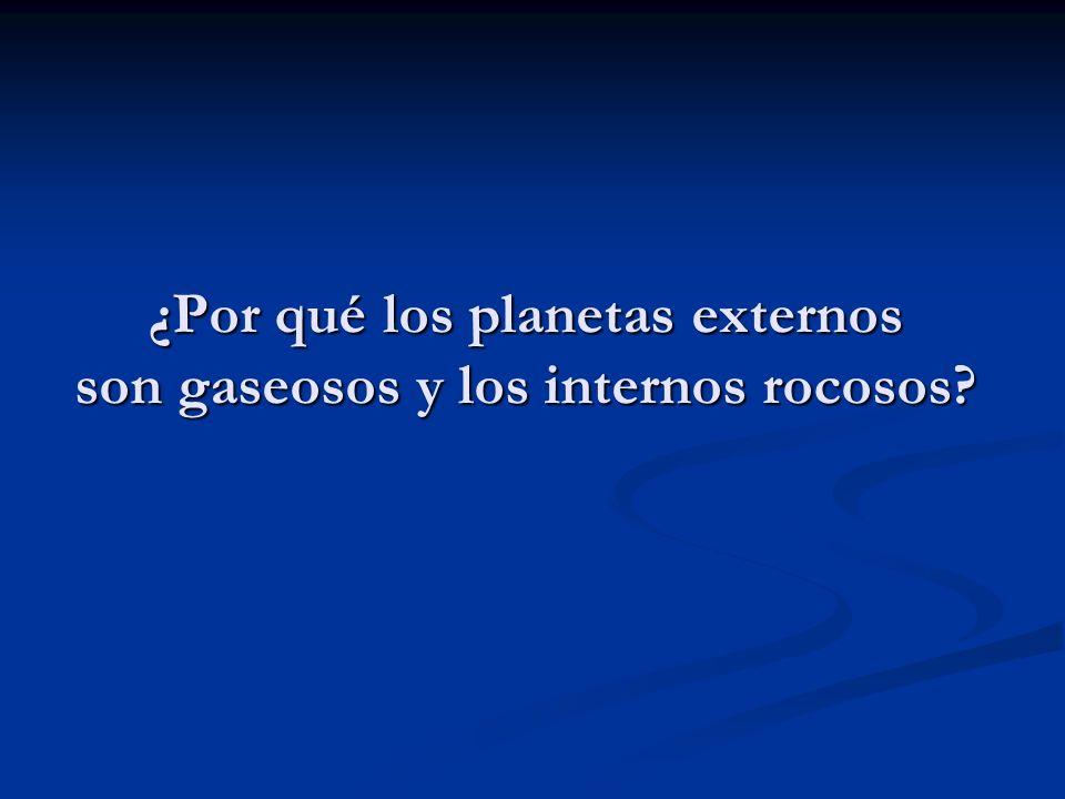 ¿Por qué los planetas externos son gaseosos y los internos rocosos?