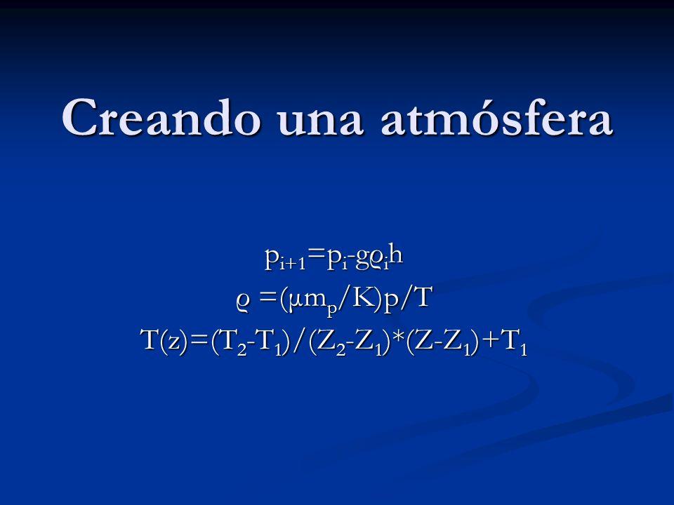 Creando una atmósfera p i+1 =p i -gρ i h ρ =(μm p /K)p/T T(z)=(T 2 -T 1 )/(Z 2 -Z 1 )*(Z-Z 1 )+T 1