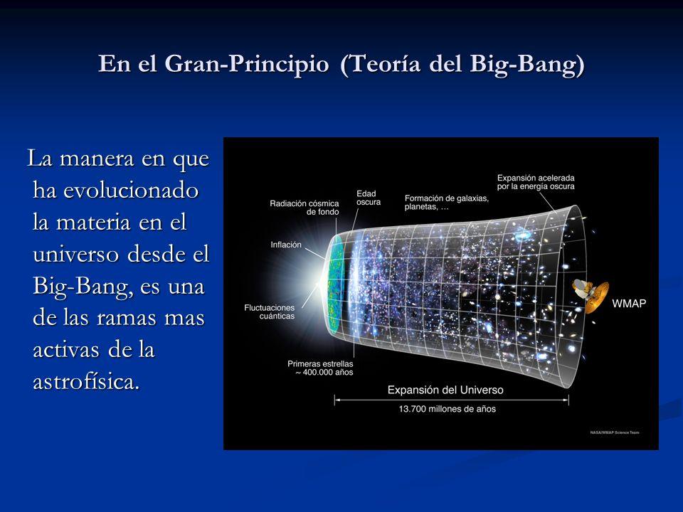 En el Gran-Principio (Teoría del Big-Bang) La manera en que ha evolucionado la materia en el universo desde el Big-Bang, es una de las ramas mas activ