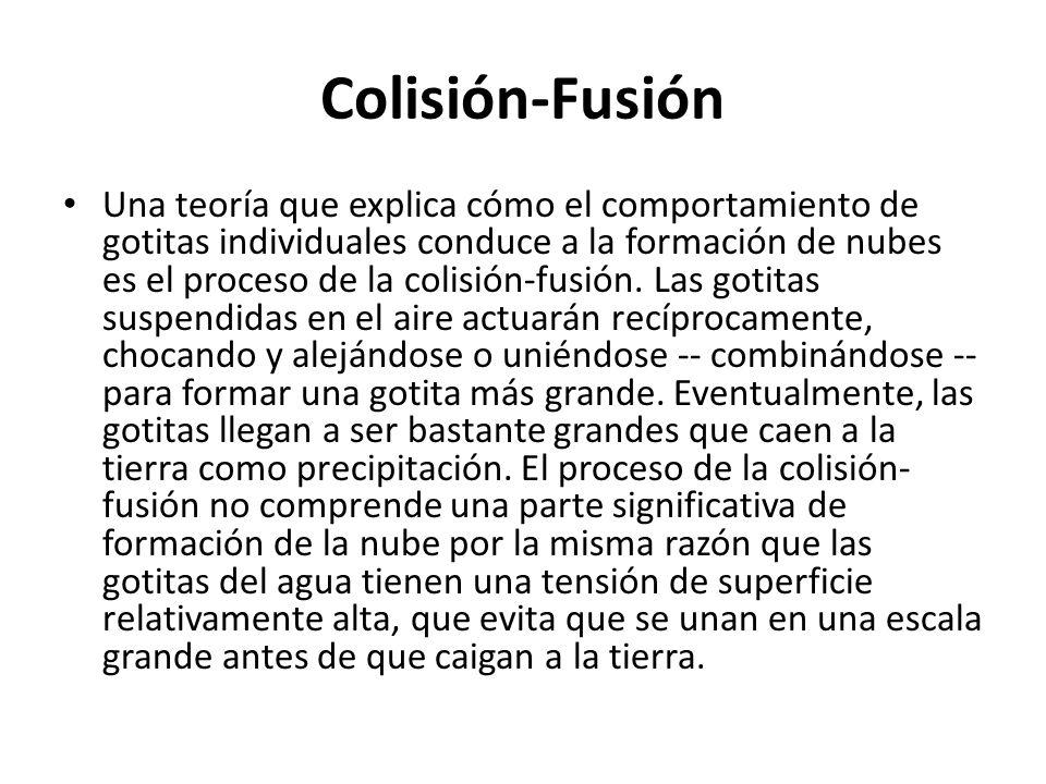 Colisión-Fusión Una teoría que explica cómo el comportamiento de gotitas individuales conduce a la formación de nubes es el proceso de la colisión-fus