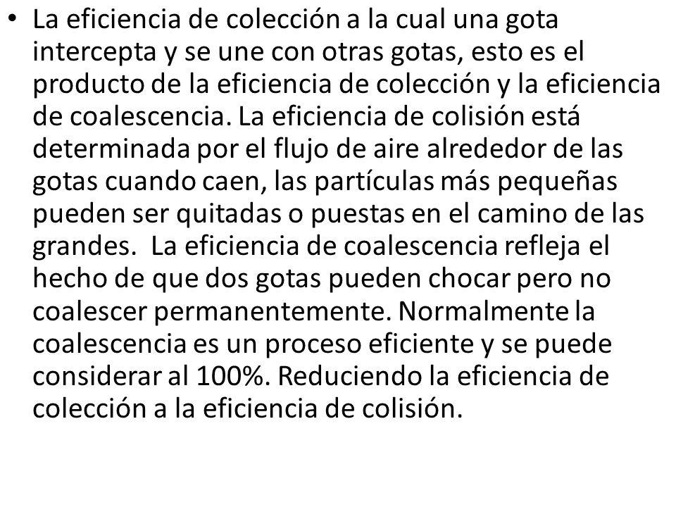 La eficiencia de colección a la cual una gota intercepta y se une con otras gotas, esto es el producto de la eficiencia de colección y la eficiencia d
