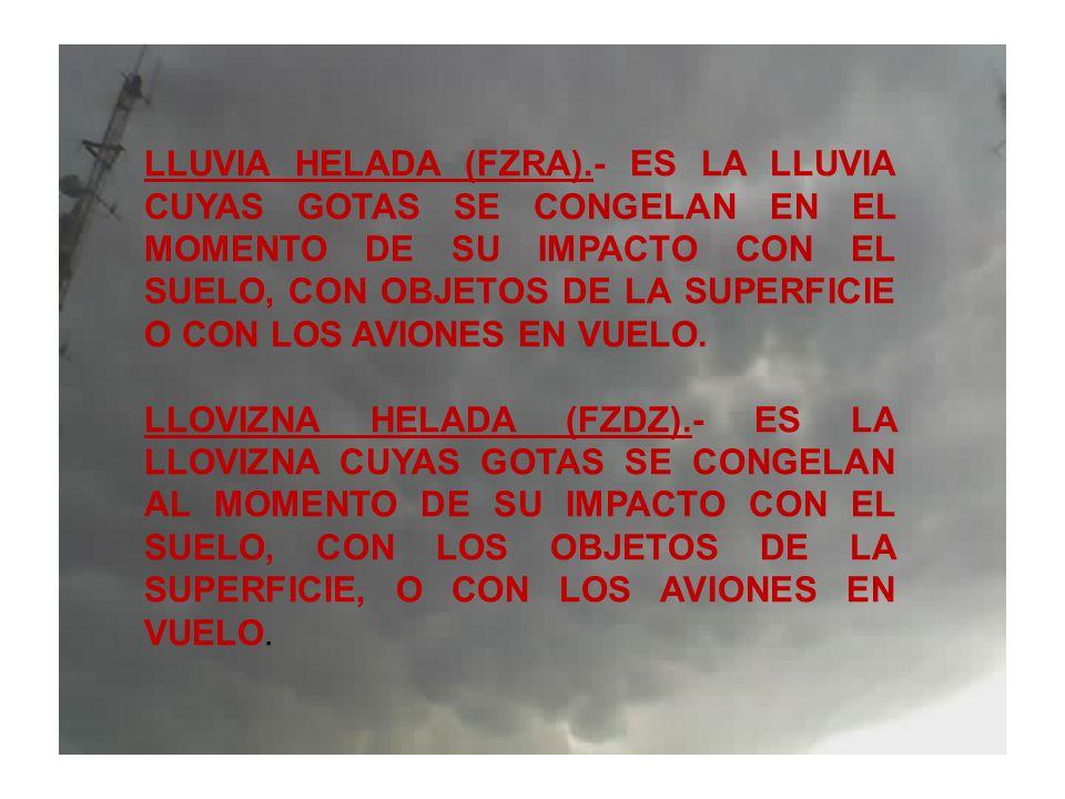 LLUVIA HELADA (FZRA).- ES LA LLUVIA CUYAS GOTAS SE CONGELAN EN EL MOMENTO DE SU IMPACTO CON EL SUELO, CON OBJETOS DE LA SUPERFICIE O CON LOS AVIONES E