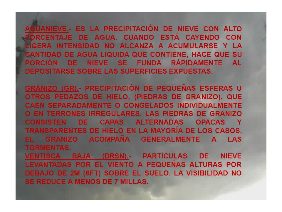 AGUANIEVE.- ES LA PRECIPITACIÓN DE NIEVE CON ALTO PORCENTAJE DE AGUA. CUANDO ESTÁ CAYENDO CON LIGERA INTENSIDAD NO ALCANZA A ACUMULARSE Y LA CANTIDAD