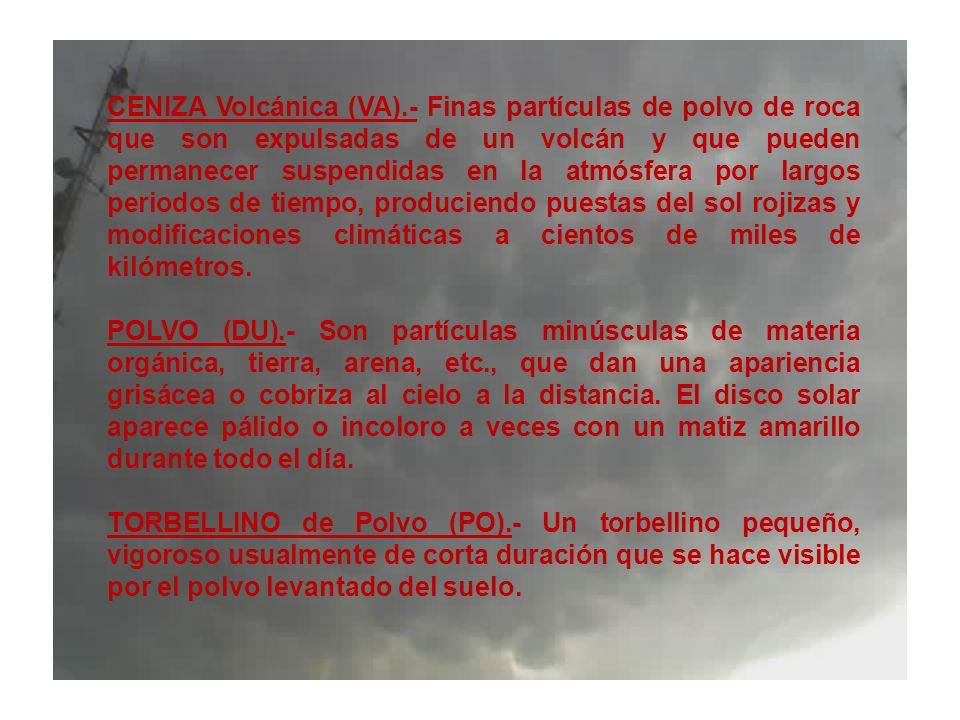 CENIZA Volcánica (VA).- Finas partículas de polvo de roca que son expulsadas de un volcán y que pueden permanecer suspendidas en la atmósfera por larg