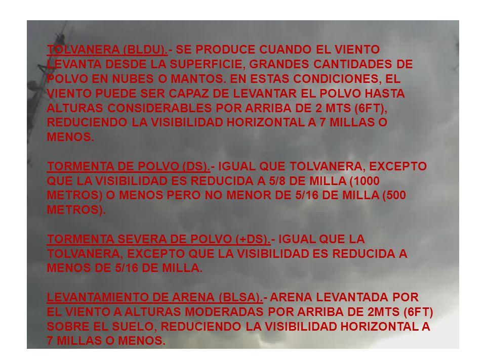 TOLVANERA (BLDU).- SE PRODUCE CUANDO EL VIENTO LEVANTA DESDE LA SUPERFICIE, GRANDES CANTIDADES DE POLVO EN NUBES O MANTOS. EN ESTAS CONDICIONES, EL VI