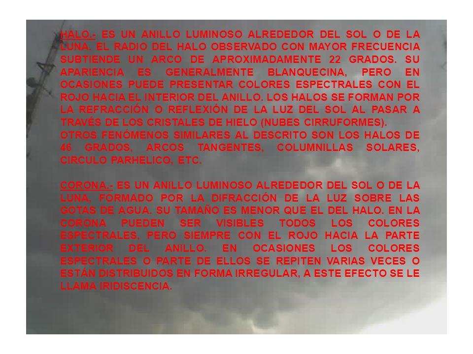HALO.- ES UN ANILLO LUMINOSO ALREDEDOR DEL SOL O DE LA LUNA. EL RADIO DEL HALO OBSERVADO CON MAYOR FRECUENCIA SUBTIENDE UN ARCO DE APROXIMADAMENTE 22