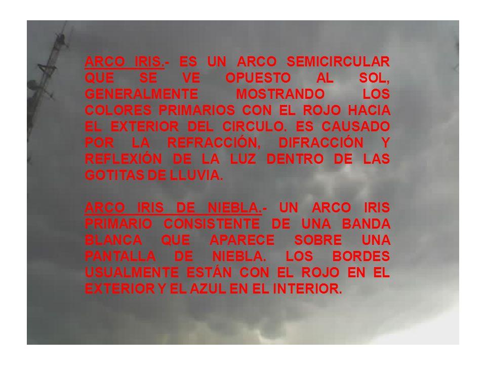 ARCO IRIS.- ES UN ARCO SEMICIRCULAR QUE SE VE OPUESTO AL SOL, GENERALMENTE MOSTRANDO LOS COLORES PRIMARIOS CON EL ROJO HACIA EL EXTERIOR DEL CIRCULO.