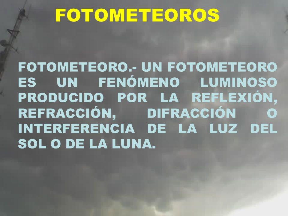 FOTOMETEOROS FOTOMETEORO.- UN FOTOMETEORO ES UN FENÓMENO LUMINOSO PRODUCIDO POR LA REFLEXIÓN, REFRACCIÓN, DIFRACCIÓN O INTERFERENCIA DE LA LUZ DEL SOL