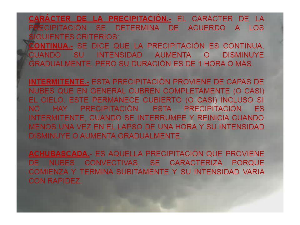 CARÁCTER DE LA PRECIPITACIÓN.- EL CARÁCTER DE LA PRECIPITACIÓN SE DETERMINA DE ACUERDO A LOS SIGUIENTES CRITERIOS: CONTINUA.- SE DICE QUE LA PRECIPITA