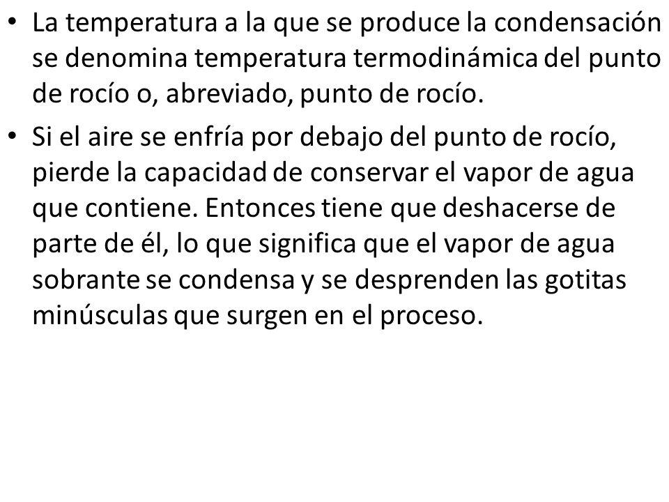 La temperatura a la que se produce la condensación se denomina temperatura termodinámica del punto de rocío o, abreviado, punto de rocío. Si el aire s