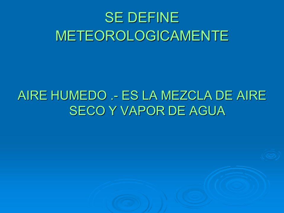SE DEFINE METEOROLOGICAMENTE AIRE HUMEDO.- ES LA MEZCLA DE AIRE SECO Y VAPOR DE AGUA