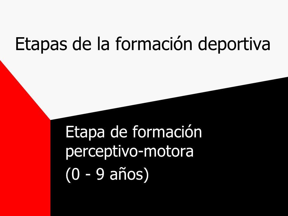 Etapas de la formación deportiva Etapa de formación perceptivo-motora (0 - 9 años)
