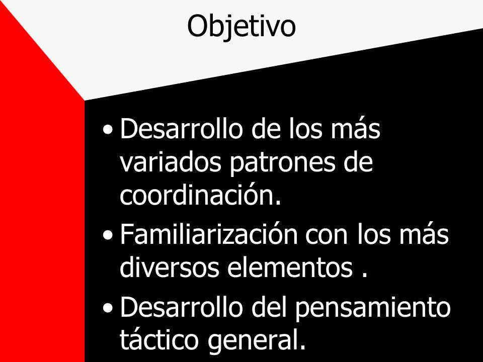 Objetivo Desarrollo de los más variados patrones de coordinación. Familiarización con los más diversos elementos. Desarrollo del pensamiento táctico g