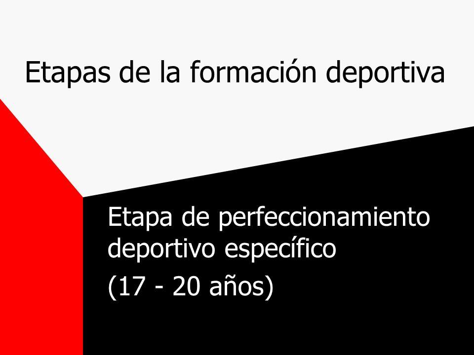 Etapas de la formación deportiva Etapa de perfeccionamiento deportivo específico (17 - 20 años)
