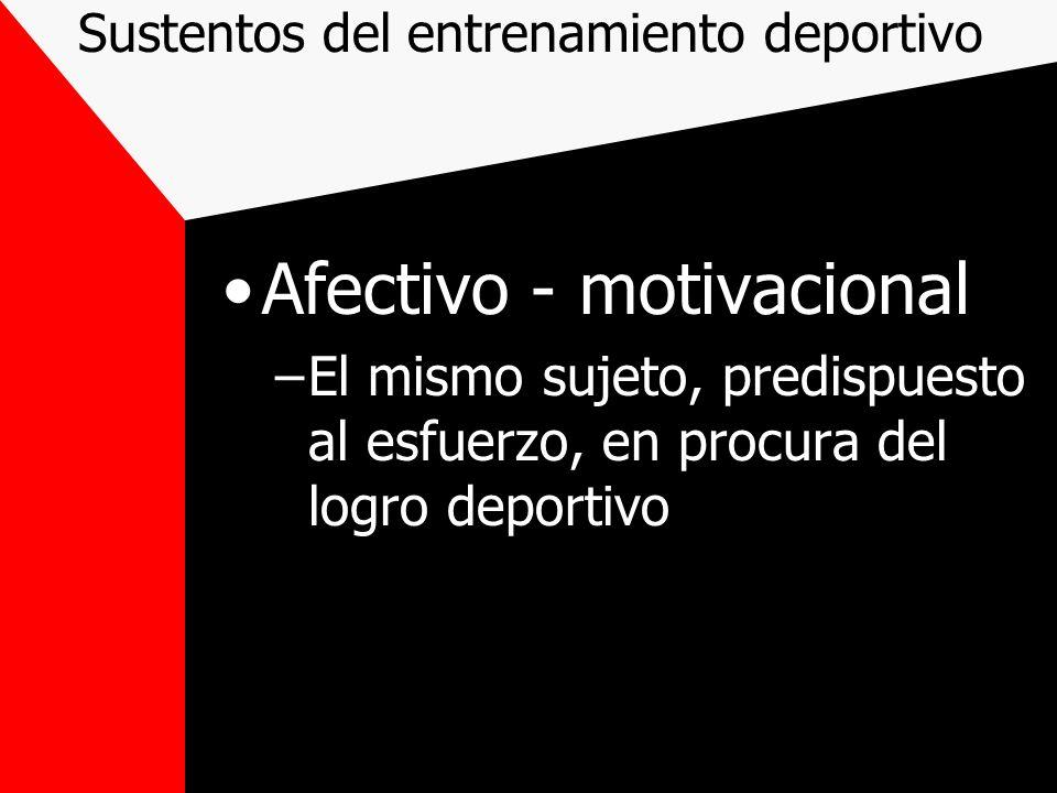 Sustentos del entrenamiento deportivo Afectivo - motivacional –El mismo sujeto, predispuesto al esfuerzo, en procura del logro deportivo