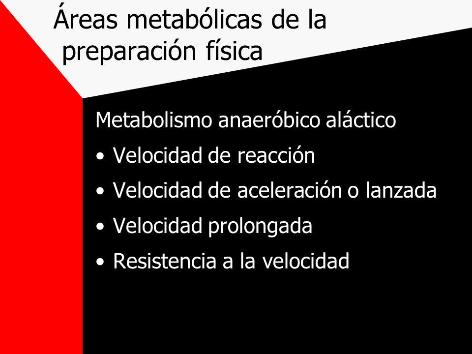 Áreas metabólicas de la preparación física Metabolismo anaeróbico aláctico Velocidad de reacción Velocidad de aceleración o lanzada Velocidad prolonga