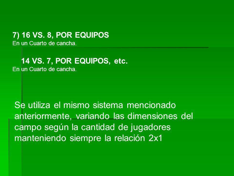 7) 16 VS. 8, POR EQUIPOS En un Cuarto de cancha. 14 VS. 7, POR EQUIPOS, etc. En un Cuarto de cancha. Se utiliza el mismo sistema mencionado anteriorme