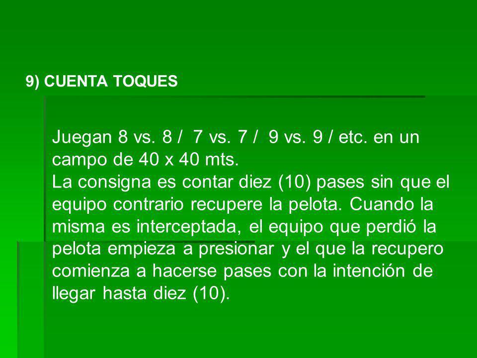 9) CUENTA TOQUES Juegan 8 vs. 8 / 7 vs. 7 / 9 vs. 9 / etc. en un campo de 40 x 40 mts. La consigna es contar diez (10) pases sin que el equipo contrar