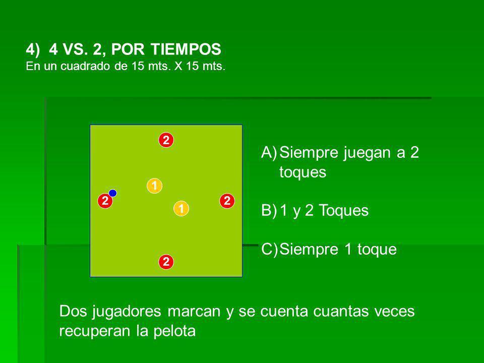 4) 4 VS. 2, POR TIEMPOS En un cuadrado de 15 mts. X 15 mts. 1 1 22 2 2 Dos jugadores marcan y se cuenta cuantas veces recuperan la pelota A)Siempre ju