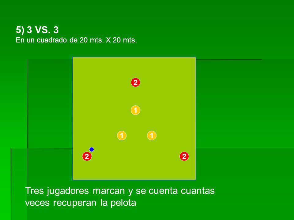 5)3 VS. 3 En un cuadrado de 20 mts. X 20 mts. 1 1 2 2 2 1 Tres jugadores marcan y se cuenta cuantas veces recuperan la pelota
