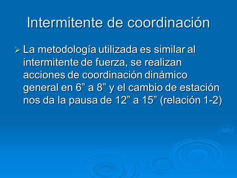 Intermitente de coordinación La metodología utilizada es similar al intermitente de fuerza, se realizan acciones de coordinación dinámico general en 6
