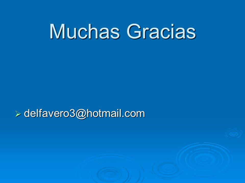 Muchas Gracias delfavero3@hotmail.com delfavero3@hotmail.com