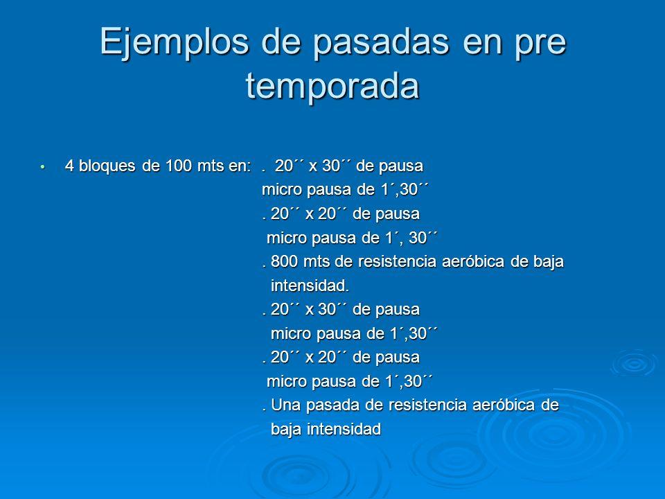 Ejemplos de pasadas en pre temporada 4 bloques de 100 mts en:. 20´´ x 30´´ de pausa 4 bloques de 100 mts en:. 20´´ x 30´´ de pausa micro pausa de 1´,3