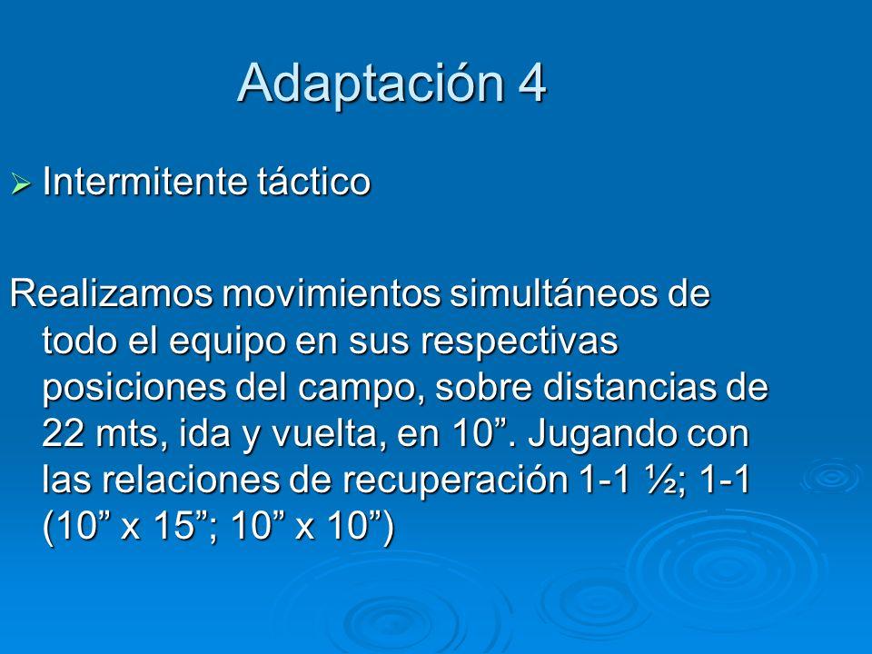 Adaptación 4 Intermitente táctico Intermitente táctico Realizamos movimientos simultáneos de todo el equipo en sus respectivas posiciones del campo, s